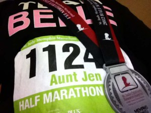 Aunt Jen is one of nearly 40 Team Belle members who participated in the half marathon for St. Jude in honor of Belle.